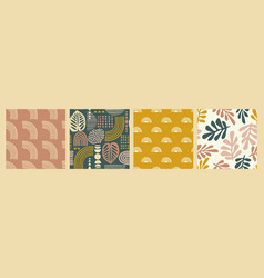 Artistic seamless patterns with abstract leaves vector