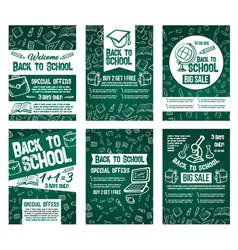 Back to school sale offer posters set vector