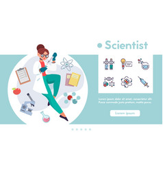 Banner scientist and linear icons set vector