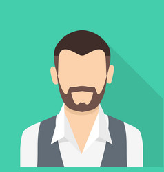 bearded man icon flat style vector image