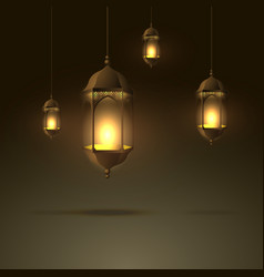 Beautiful lamps hanging with glowing flame vector