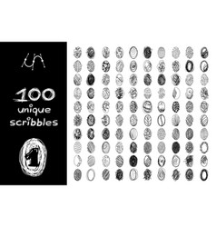 Black 100 scribbles objects set vector