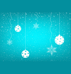 Blue snowy background christmas balls vector