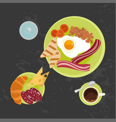 Breakfast on black background vector