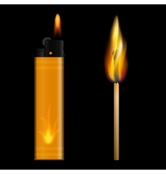 Burning lighter and match on black background vector image