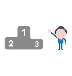 businessman character pointing first place of vector image