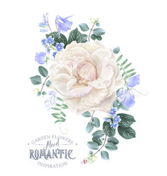 Card with white rose and blue flowers vector