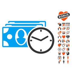 cash credit icon with valentine bonus vector image