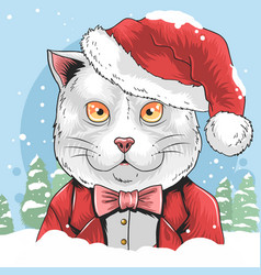 Cat christmas with santa claus hat artwork vector