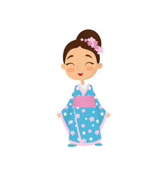cheerful little girl with flowers in hair wearing vector image