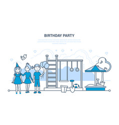 children celebrate party birthday walk in park vector image