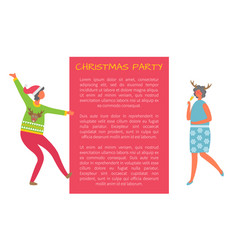 christmas party celebration woman and text sample vector image