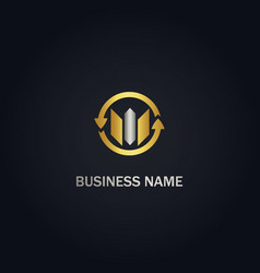 circle arrow shape business gold logo vector image