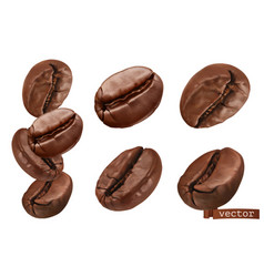 Coffee beans 3d realistic set vector