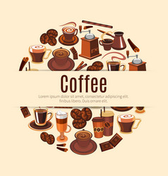 Coffee drink round poster for cafe design vector