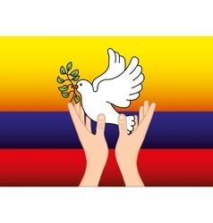 Colombian peace dove with olive branch vector