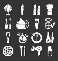 Cosmetics icons set grey vector