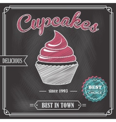 Cupcake chalkboard poster vector