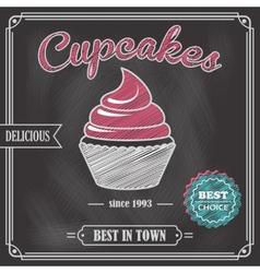 Cupcake chalkboard poster vector image
