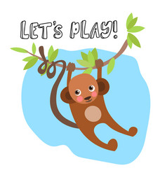 cute bamonkey hanging on tree with lettering vector image