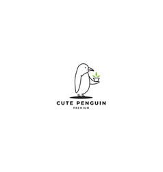 Cute penguin line give gift logo design vector