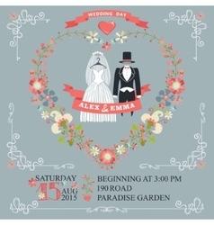 Cute wedding invitationretro wear floral wreath vector