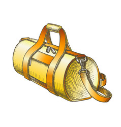 Cylindrical sport luggage bag color vector