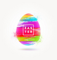 easter greeting with multicolored egg vector image