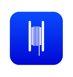 Electric cable in coil icon digital blue vector