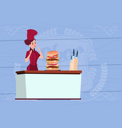 female chef cook big burger cartoon chief in vector image