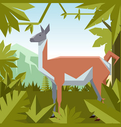 flat geometric jungle background with guanaco vector image