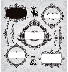 Frames and vintage design elements vector