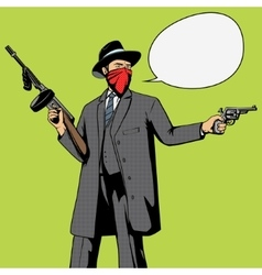 Gangster with gun robbery pop art vector image