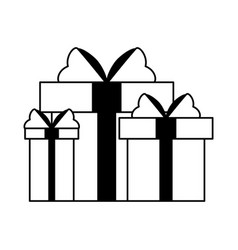 gift boxes present cartoon isolated in black and vector image