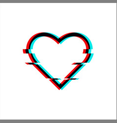 Glitched symbol heart in glitch style vector