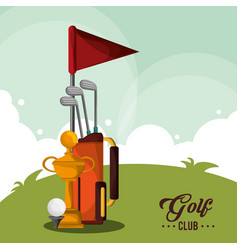 golf club bag trophy and ball vector image