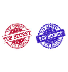 grunge scratched top secret stamp seals vector image