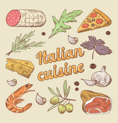 Hand drawn italian cuisine doodle with pizza vector