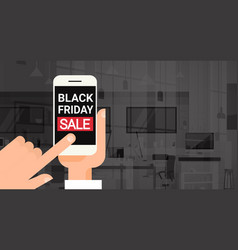 Hand hold cell smart phone with black friday sale vector