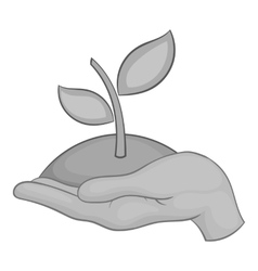 Hand holding sprout icon black monochrome style vector