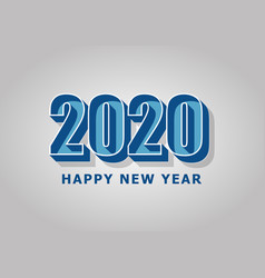 happy new year 2020 with retro style vector image