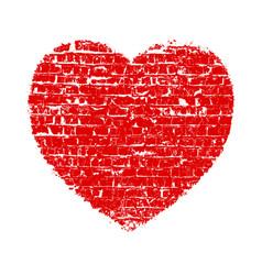 Heart grunge brick vector