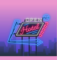 hotel is a neon sign retro vector image