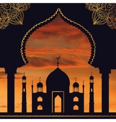 Islam backgroundMosquearchSunset skyOrange vector