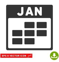 January Calendar Grid Eps Icon vector