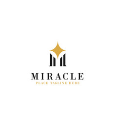 Letter m initial with sparkle star for miracle vector