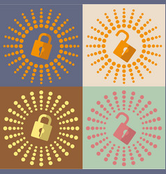 Lock open and lock closed icons vector