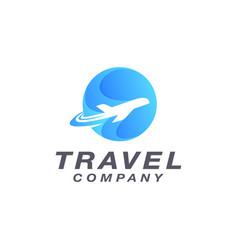 modern travel plane logo icon template vector image