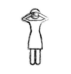 Monochrome sketch pictogram of woman with photo vector
