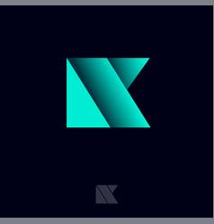 Monogram k origami logo shadow vector